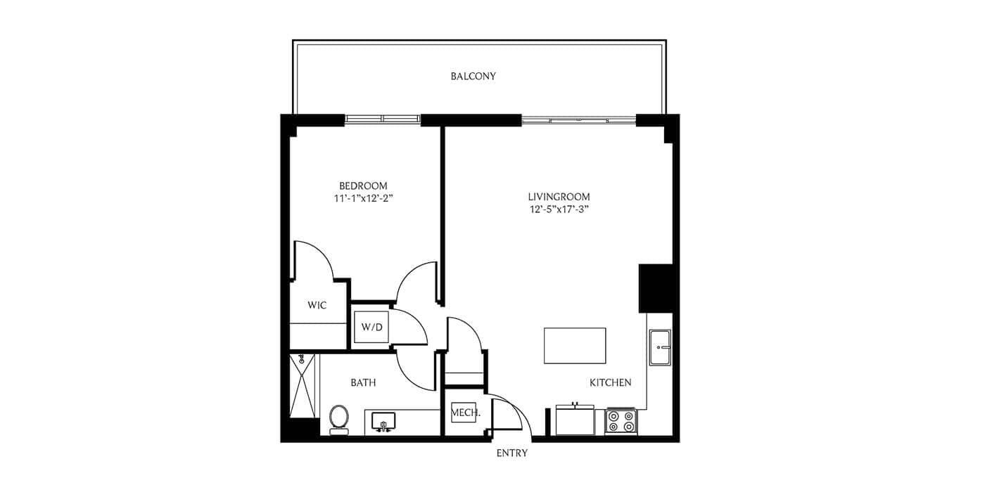 THesis Residences 1 Bedroom Floor Plan 1B