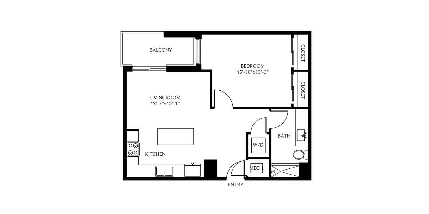 THesis Residences 1 Bedroom Floor Plan 1C