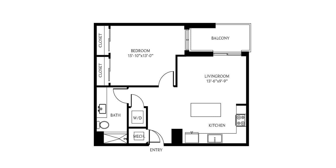THesis Residences 1 Bedroom Floor Plan 1C1