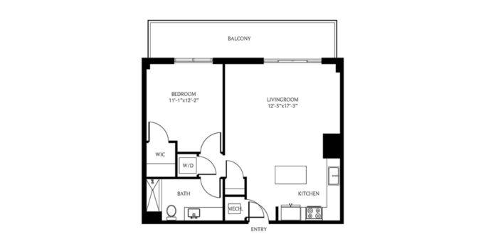 THesis Residences 1Bedroom Floor Plan 1B