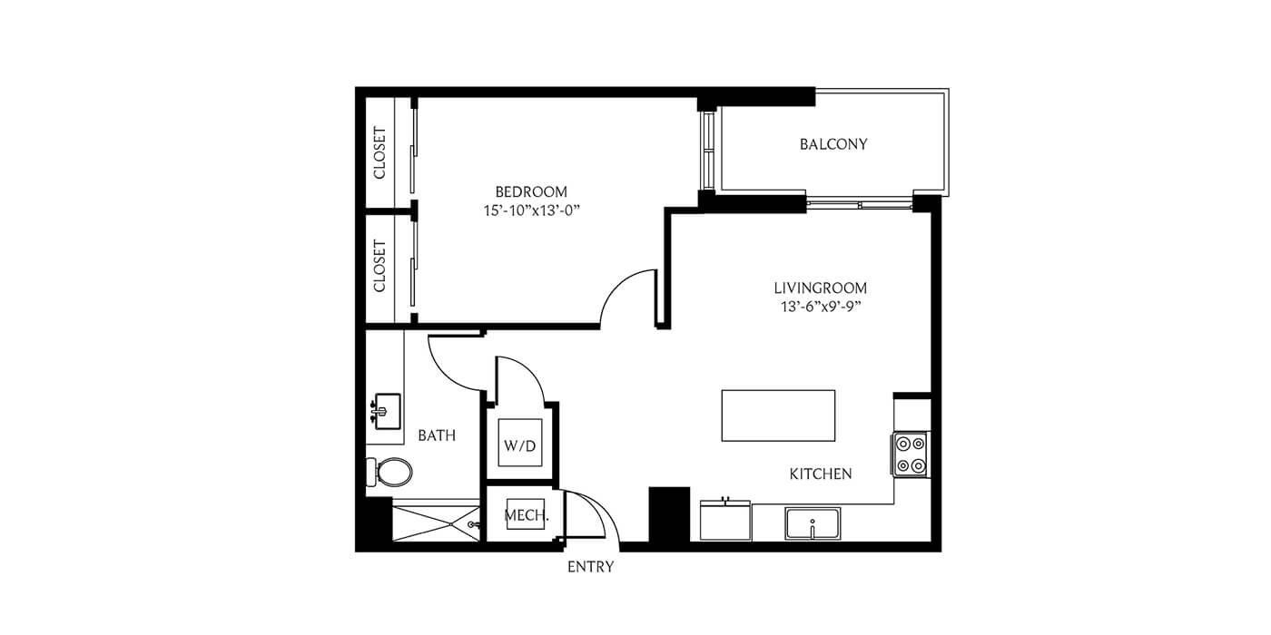 THesis Residences 1Bedroom Floor Plan 1C1