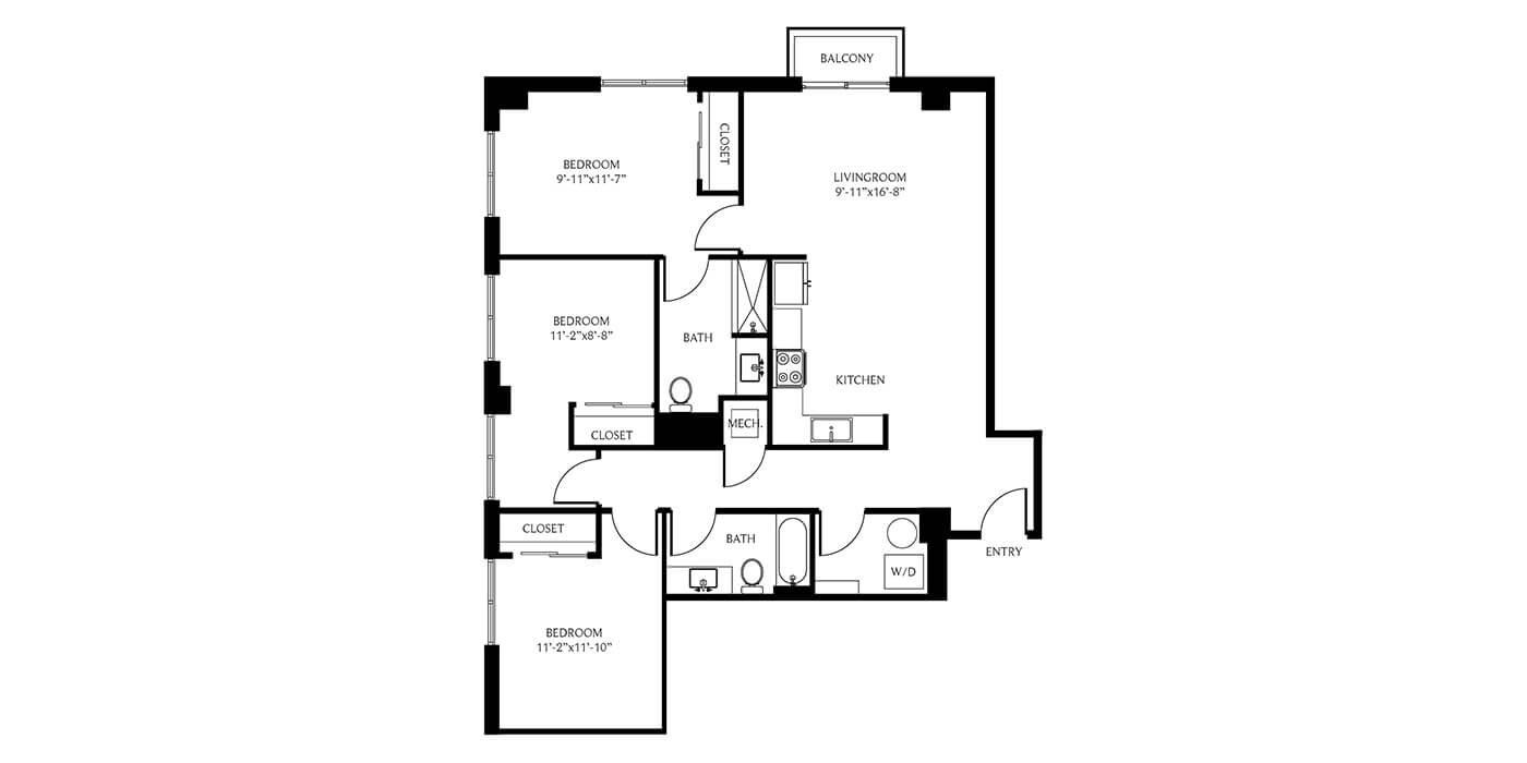 THesis Residences 3 Bedrooms Floor Plan 3C