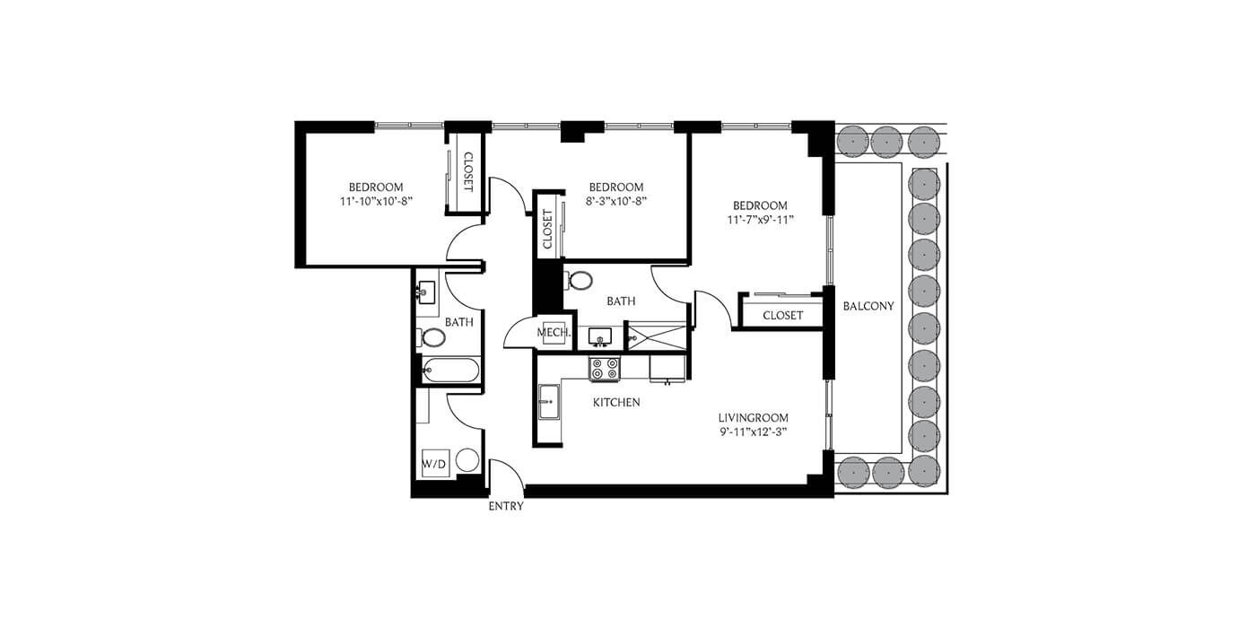 THesis Residences 3 Bedrooms Floor Plan 3E