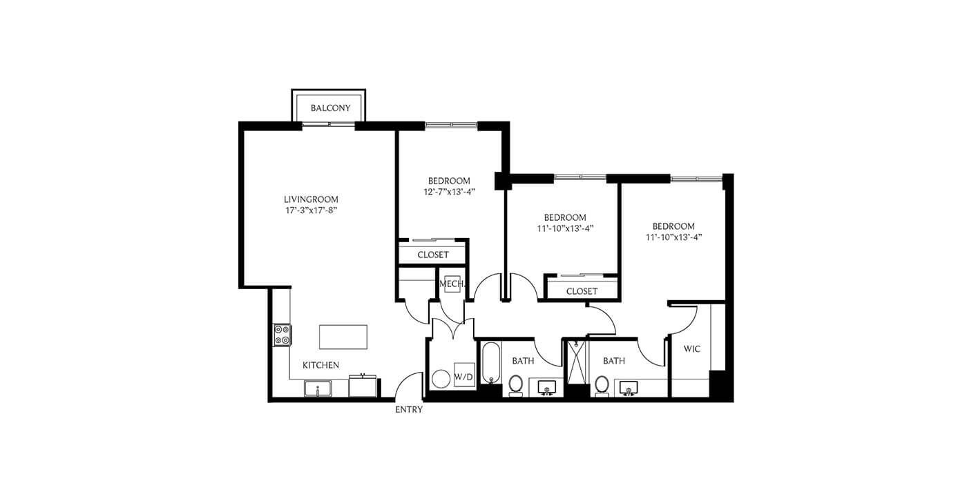 THesis Residences 3 Bedrooms Floor Plan 3F