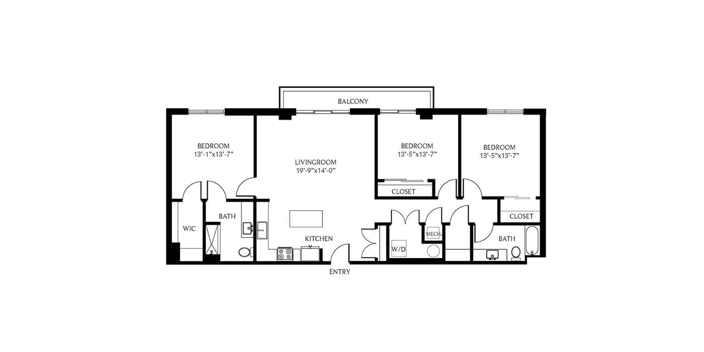 THesis Residences 3 Bedrooms Floor Plan 3G