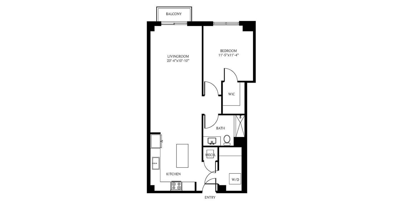THesis Residences 1Bedroom Floor Plan PH06