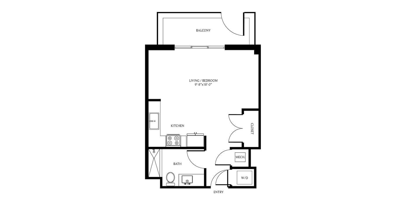THesis Residences Studio Floor Plan PH17