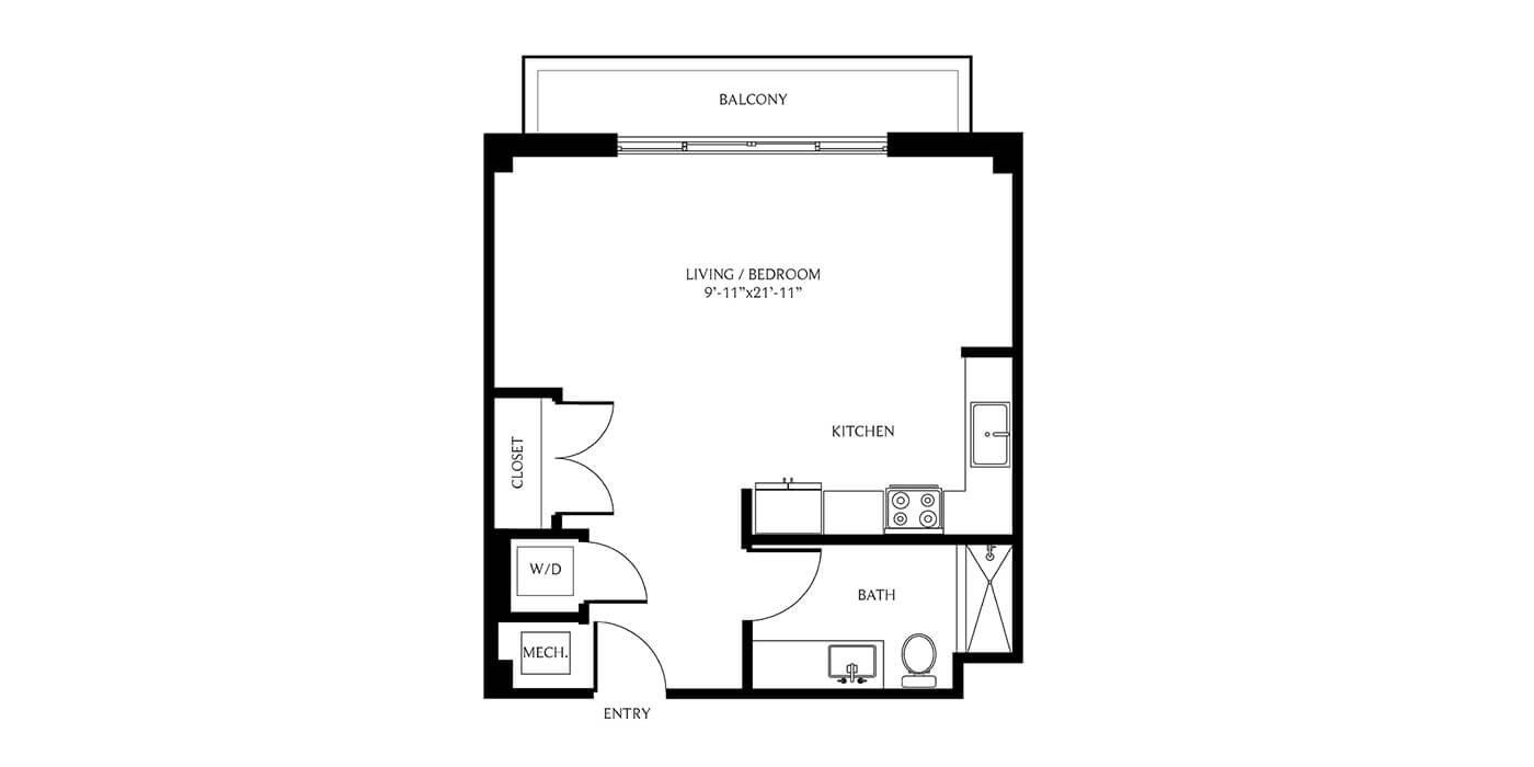 THesis Residences Studio Floor Plan SA2