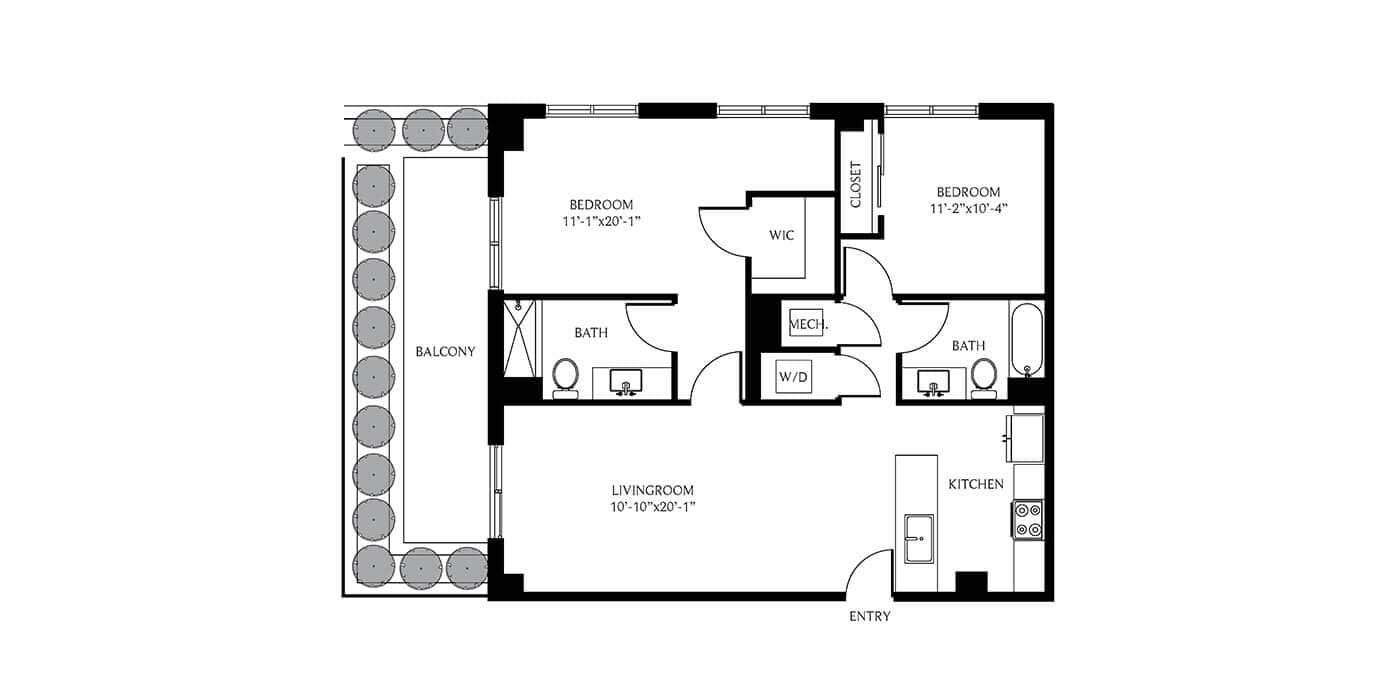 THesis Residences 2 Bedrooms Floor Plan 2A