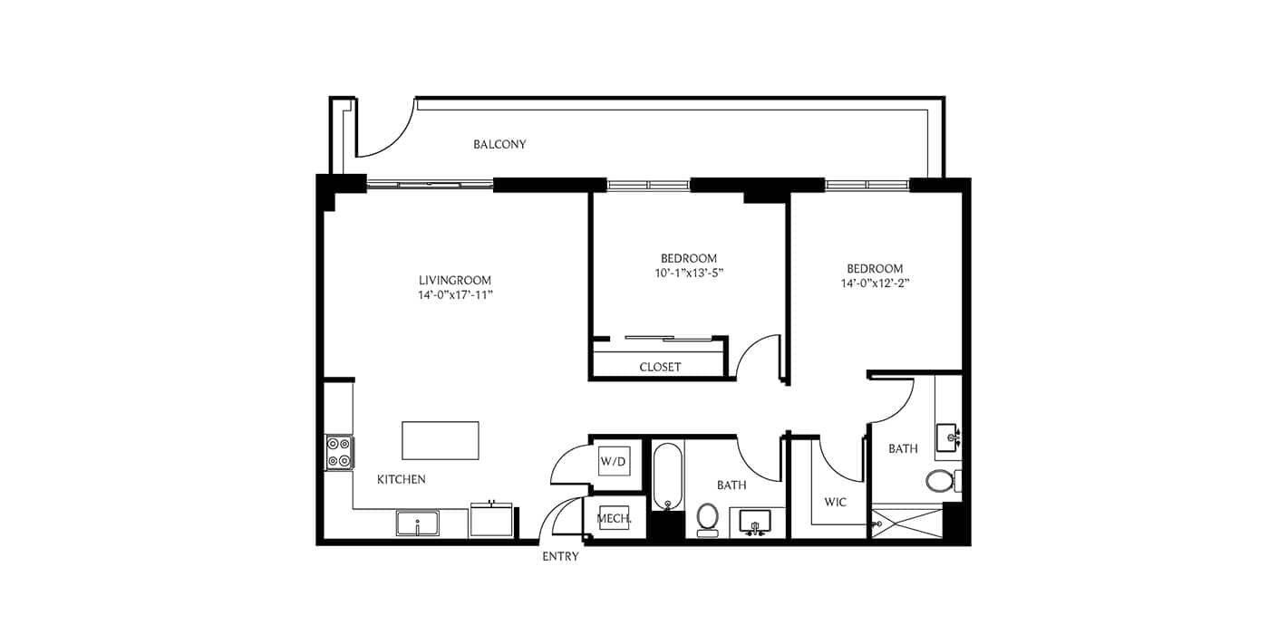 THesis Residences 2 Bedrooms Floor Plan 2B