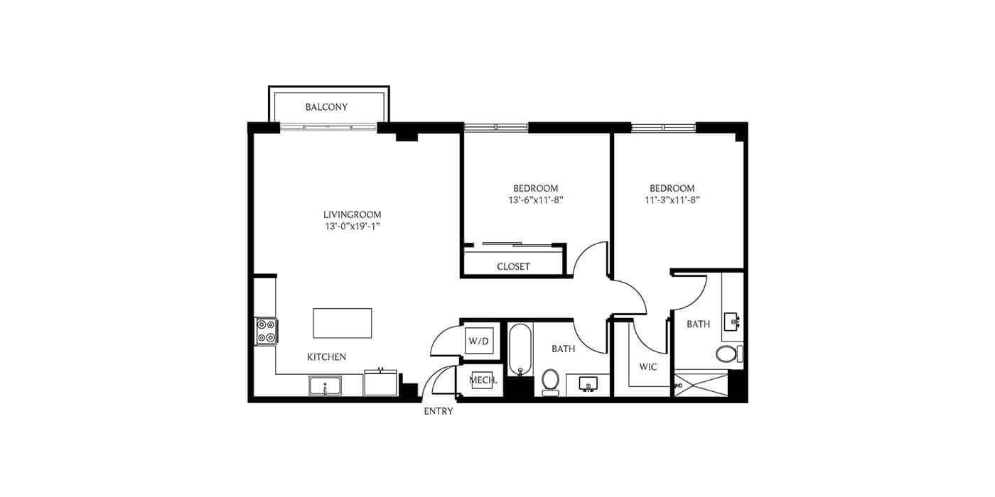 THesis Residences 2 Bedrooms Floor Plan 2D