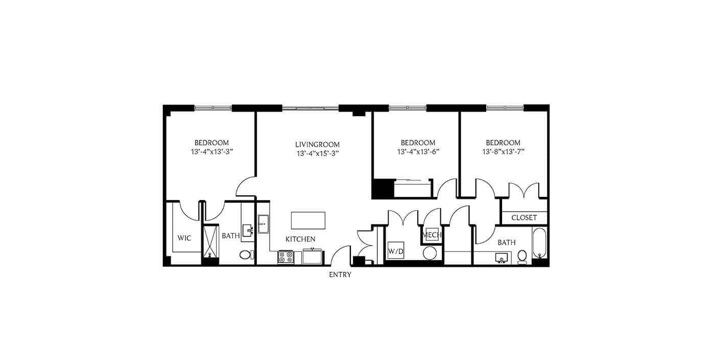 THesis Residences 3 Bedrooms Floor Plan 3A