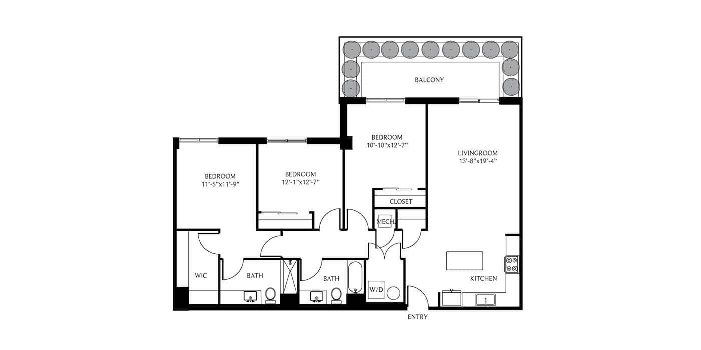 THesis Residences 3 Bedrooms Floor Plan 3B