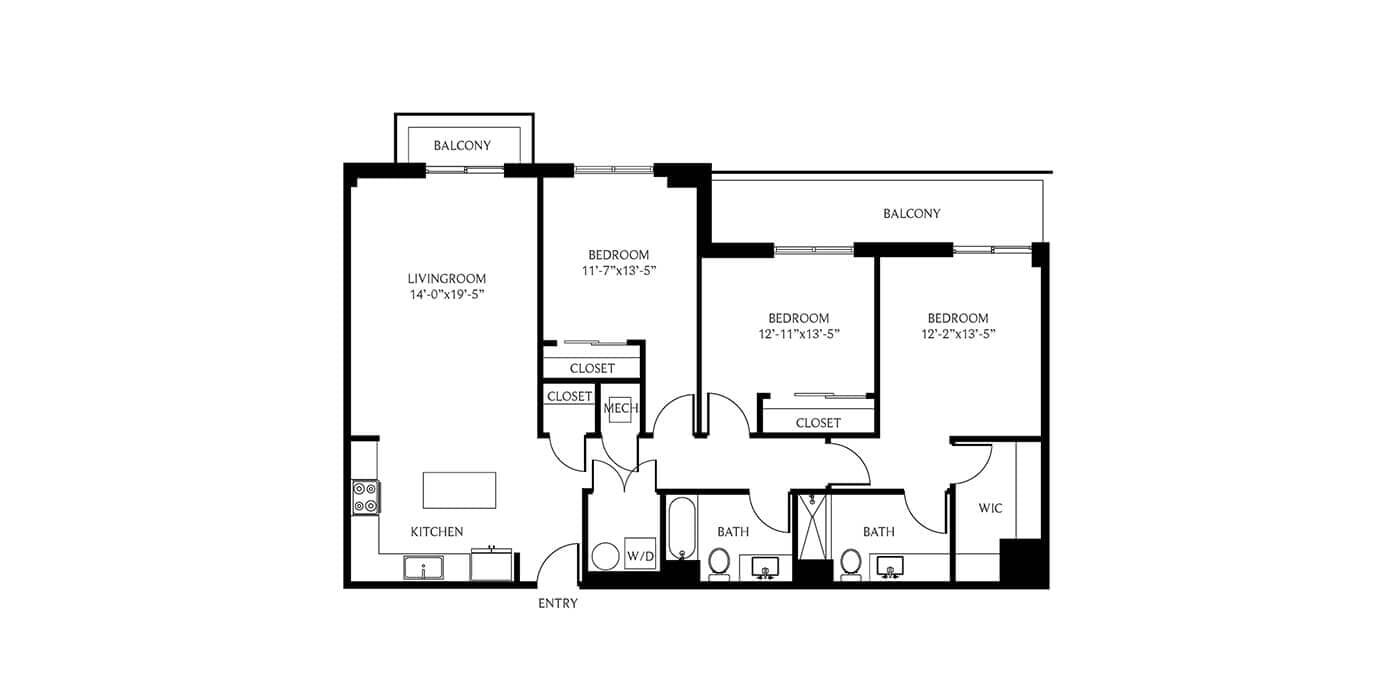 THesis Residences 3 Bedrooms Floor Plan 3D