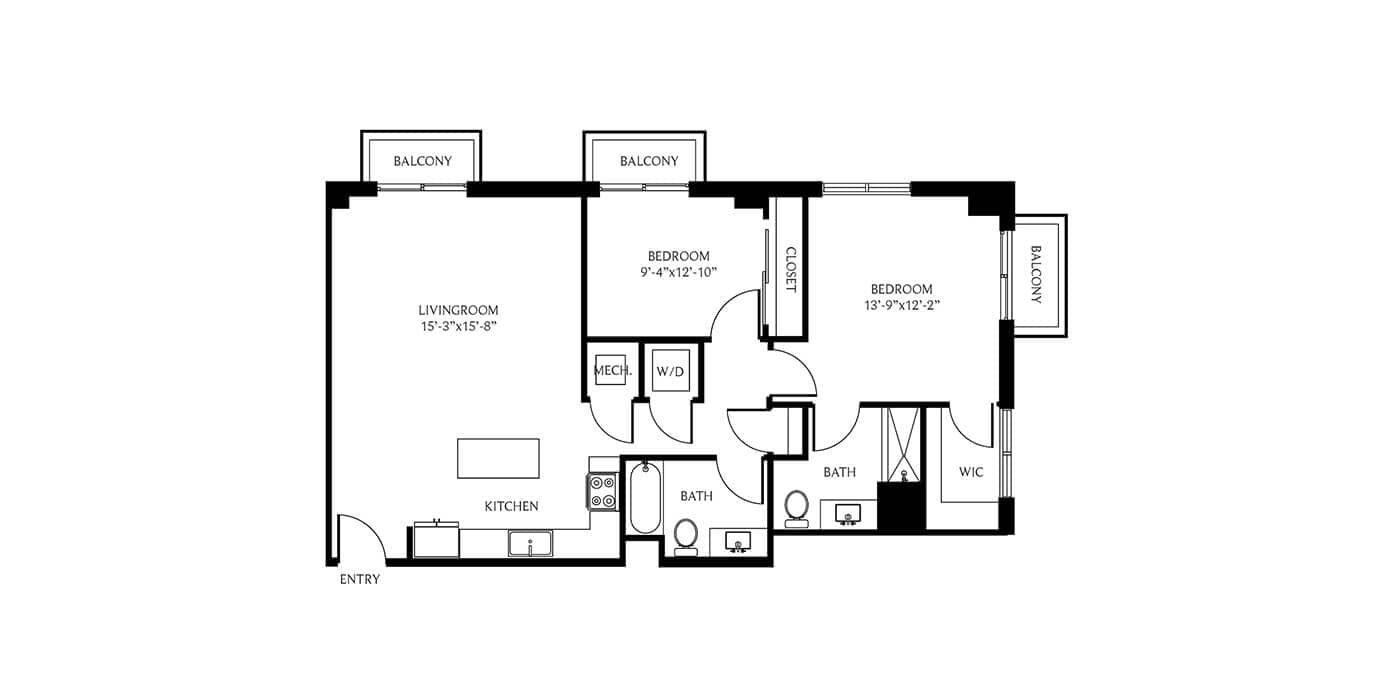 THesis Residences 2 Bedrooms Floor Plan PH16