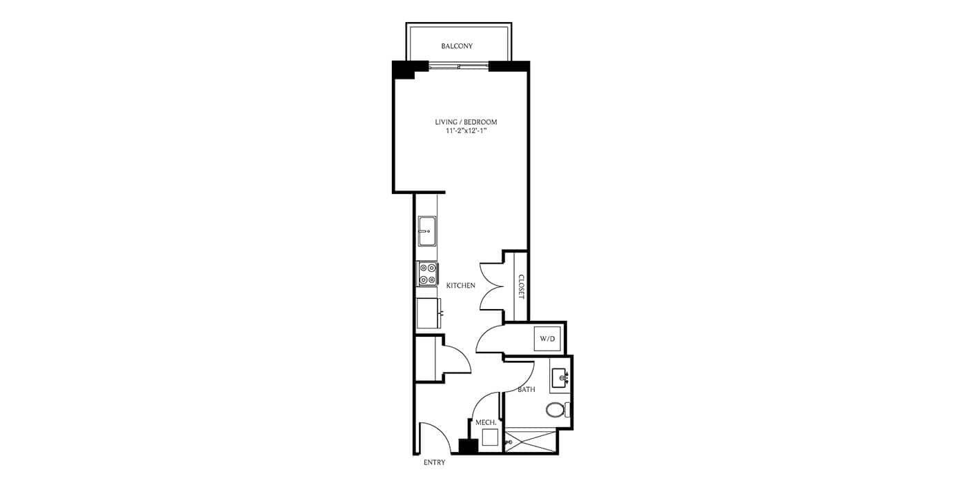 THesis Residences Studio Floor Plan PH18