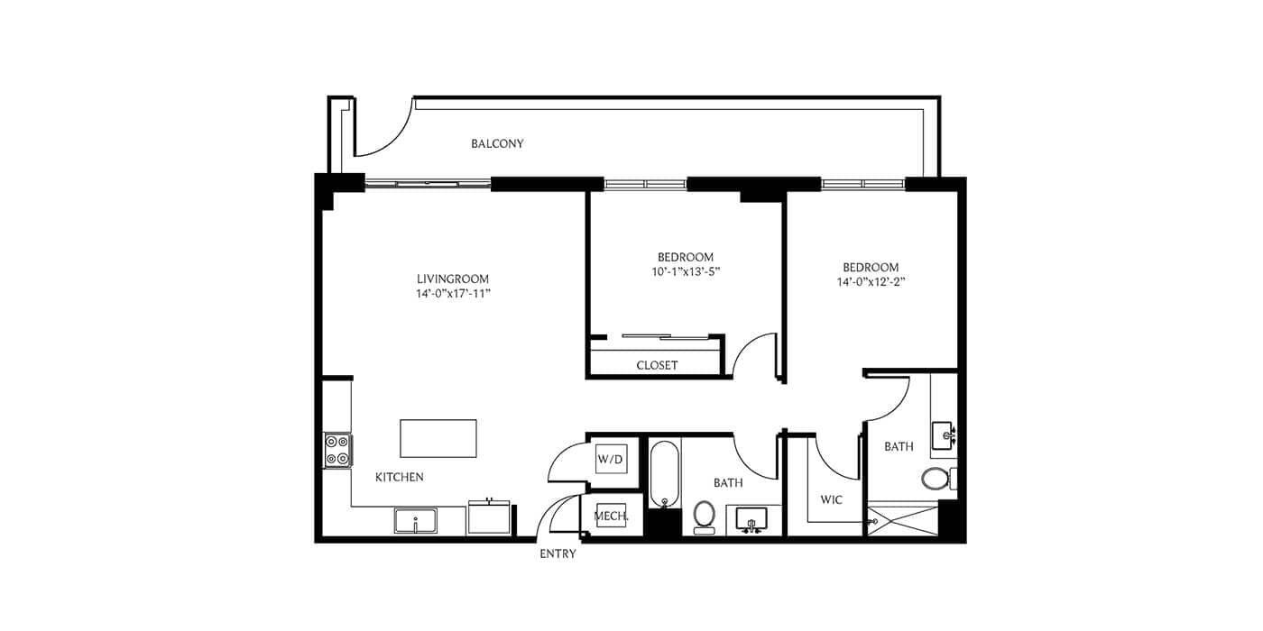 THesis Residences 2 Bedrooms Floor Plan PH25