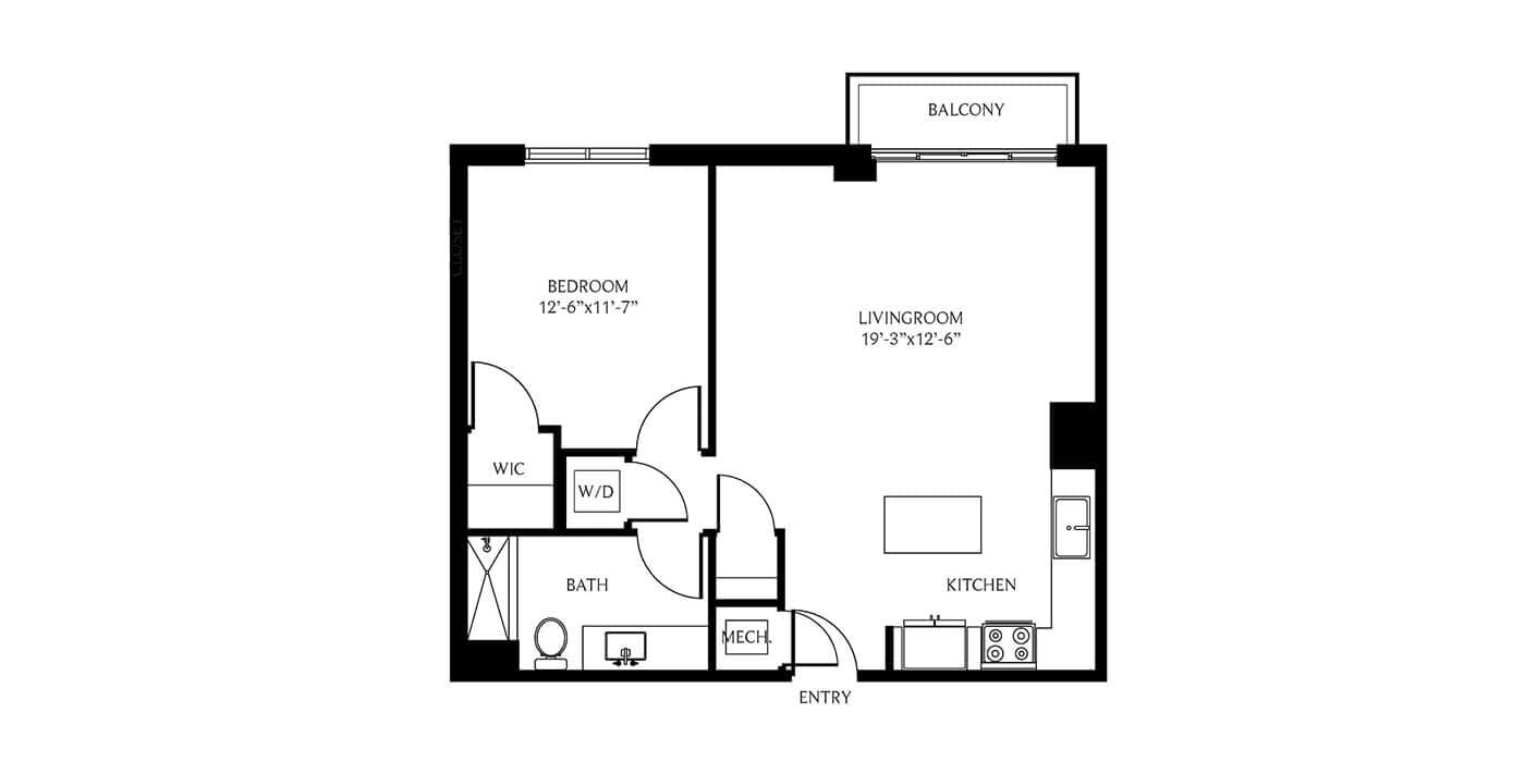 THesis Residences 1 Bedroom Floor Plan PH31